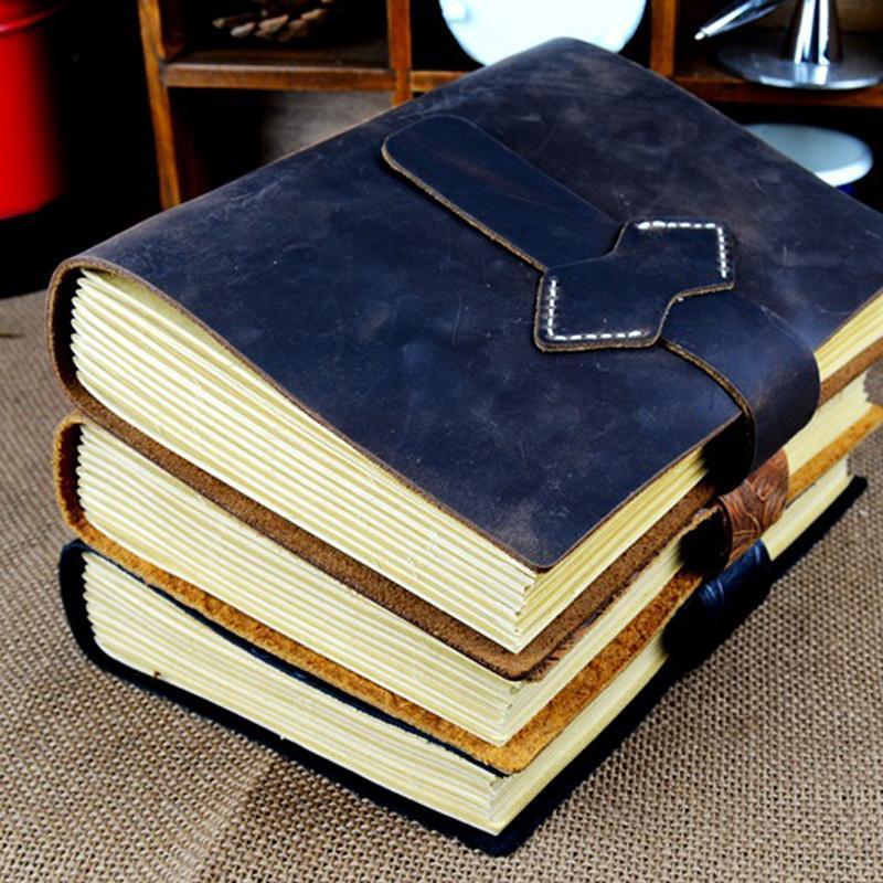 Em branco papelaria Presentes escritório papel de escrita Nots retro Handmade Diário Leather Notebook Sketchbook jornal do curso do vintage