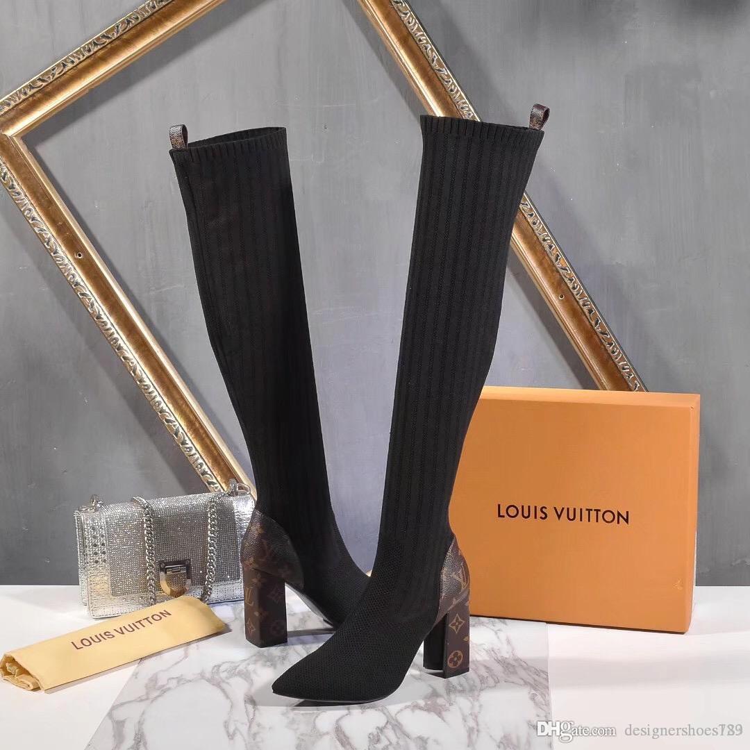 femmes bottes talons bottines Chaussures 2019 nouvelle mode sur le genou cuisse noire haute botte tricotée bottillons avec boîte