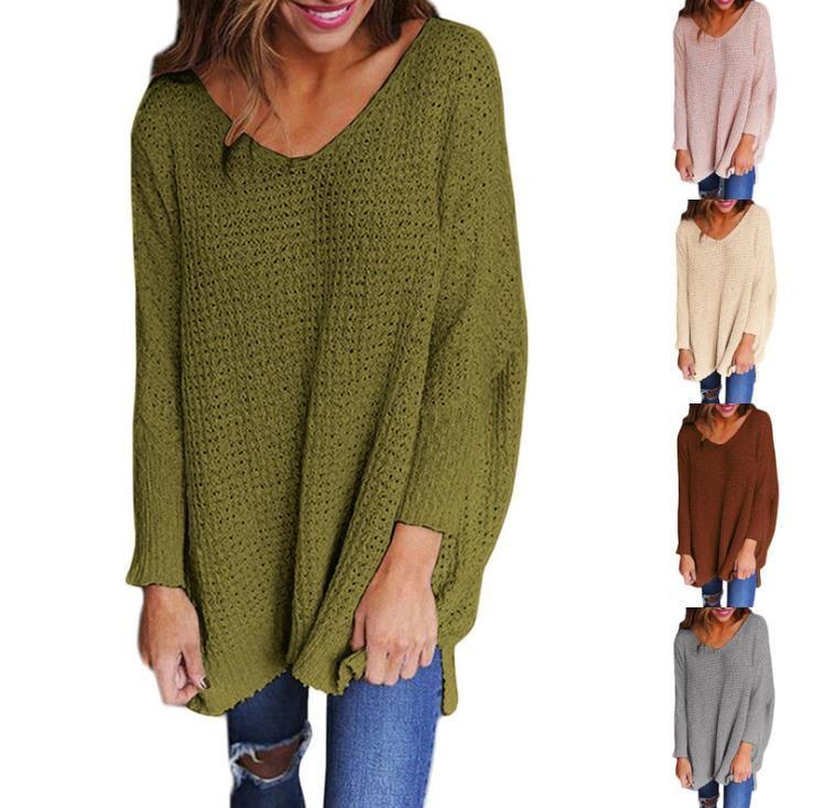 Женщины V Образным Вырезом Вяжет Топы Повседневная Сплошной Цвет Свободные Сплит Вязание Пуловер Новая Женская Дизайнерская Одежда