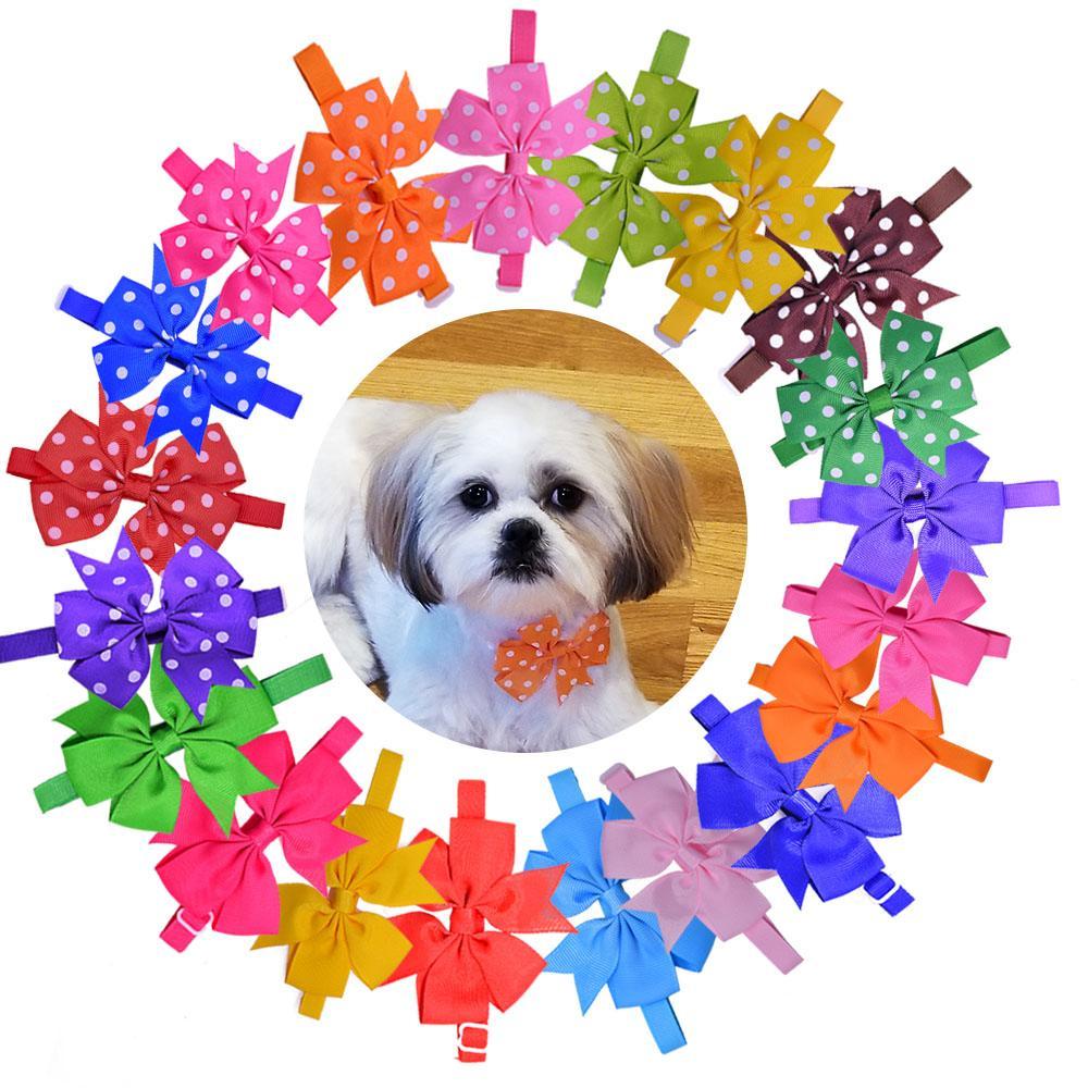Großhandel 500 stücke Hundebrüche große Bögen Haustier OOG Bowtie Krawatten Haustier Welpen Hund Krawatten Zubehör Pflege Lieferungen 20Farben