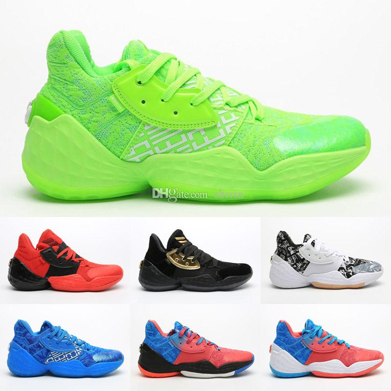 Mens James Harden 4 Zapatos BHM Negro Rosa baloncesto de los muchachos Vol.4 4S IV MVP al aire libre Deportes Formación zapatillas de deporte Tamaño de los EEUU 7-12