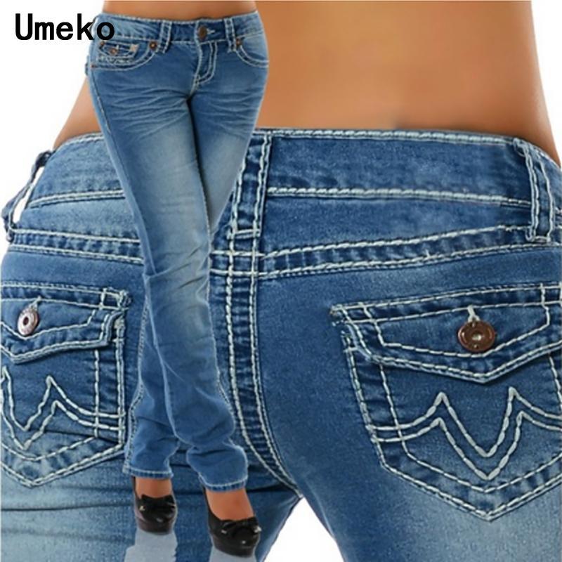 New Fashion 2018 Plus Size Jeans Woman Skinny Pockets Distressed Black Ladies Pencil Jeans Pants Female Trousers