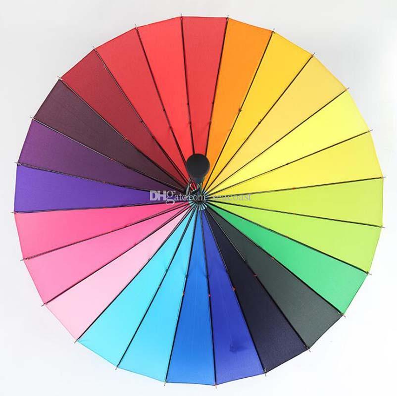 20pcs 24K del arco iris paraguas anti-UV lluvia de Sun Big largo mango recto de colores Paraguas Hombre Mujer soleado y lluvioso paraguas