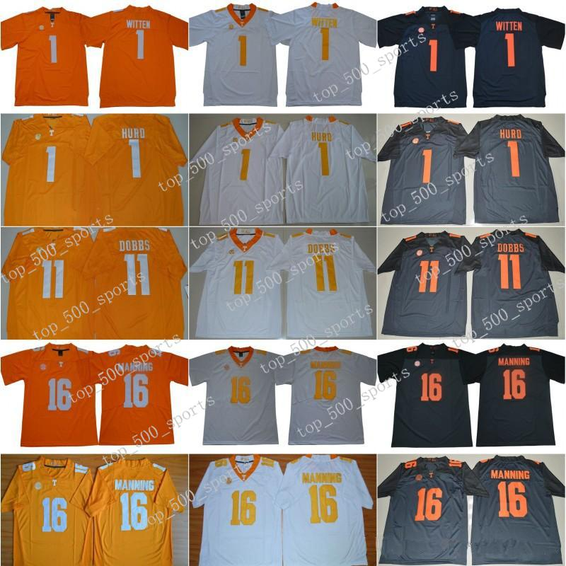 NCAA Tennessee Volunteers 16 Peyton Manning Jersey Men Jason Witten 1 Jalen Hurd 11 Joshua Dobbs College SEC Men Stitched Orange Gray White