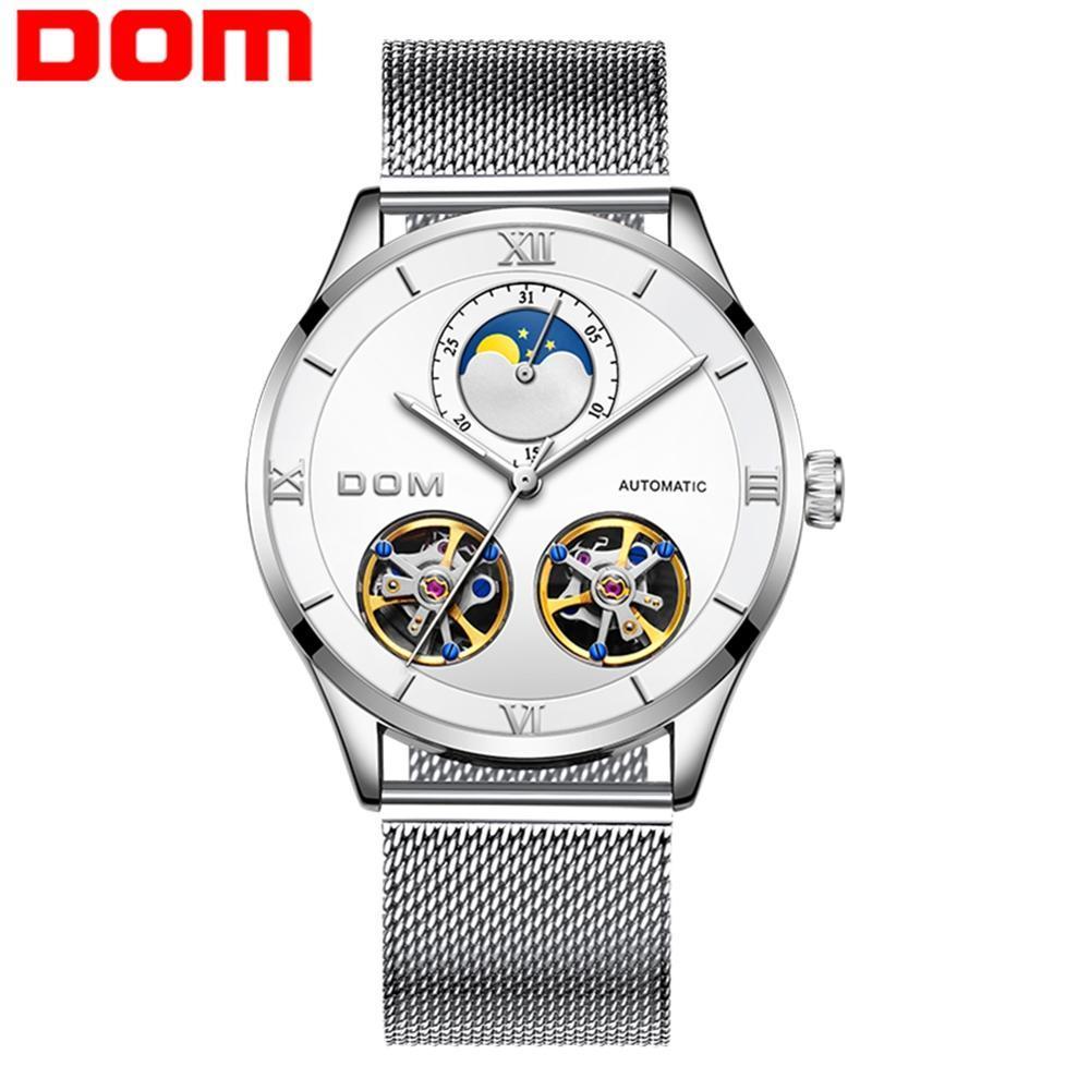 DOM İskelet Tourbillon Mekanik İzle Erkekler Otomatik Klasik Sliver Beyaz Çelik Mekanik Bilek İzle Reloj Hombre M-1270D-7M