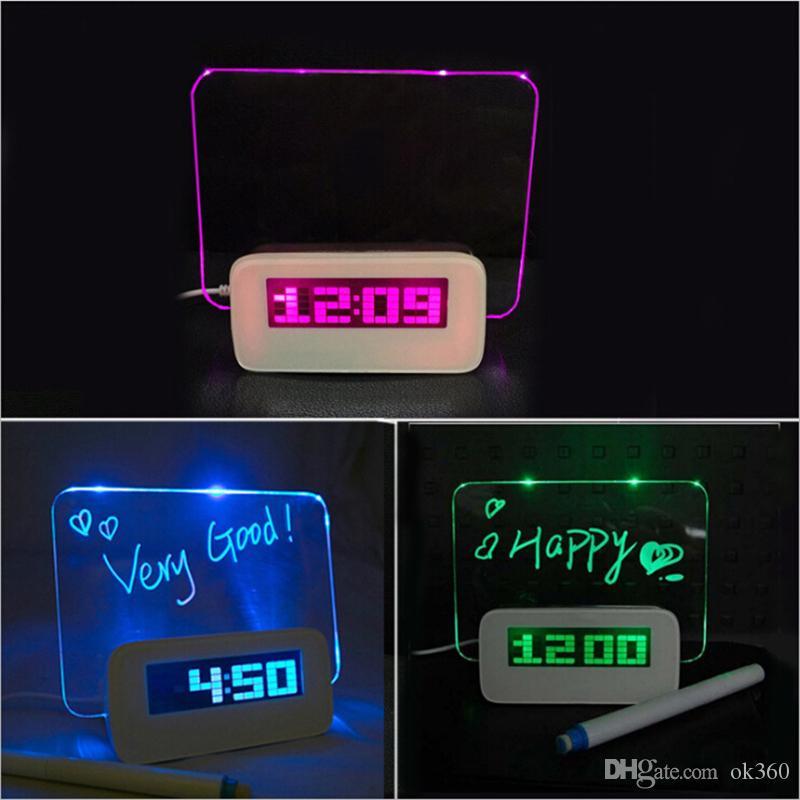 Fluorescent Message Board Clock Alarm Temperature Calendar Timer USB Hub Green Light LED Digital Desktop Director Table Clocks