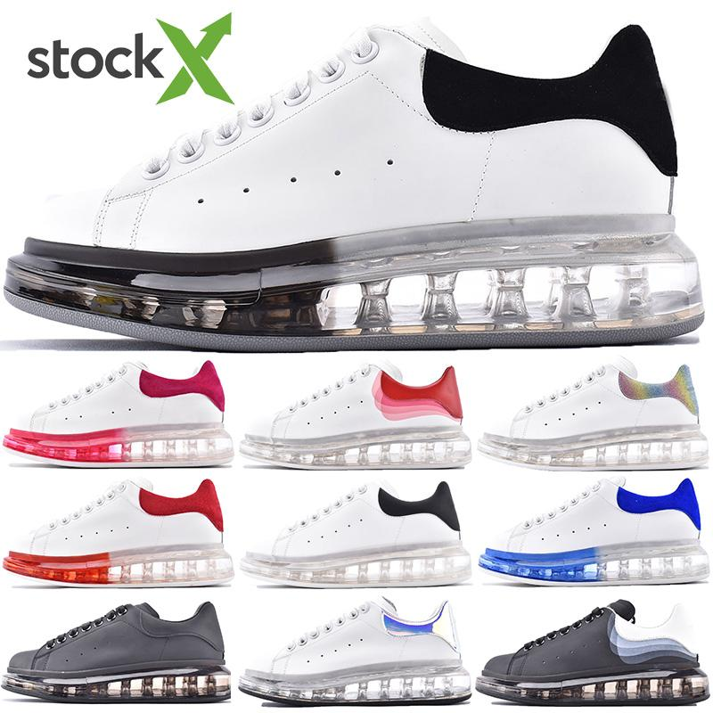 2020 New Season Lace-up beiläufige Plattform-Schuhe Sole Trainer Rot Weiß Transparent Kristall Bottom Wohnungen Männer große Größe Frauen Sneaker