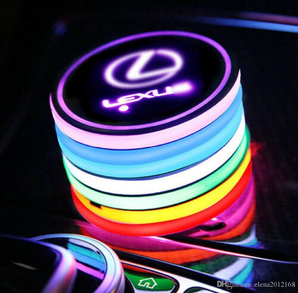 سيارة قاده شعار كأس حامل الوسادة 7 ألوان تغيير USB شحن حصيرة كأس LED سيارة حصير الغلاف الجوي مصباح الأنوار الديكور 2PCS للاكسسوارات لكزس