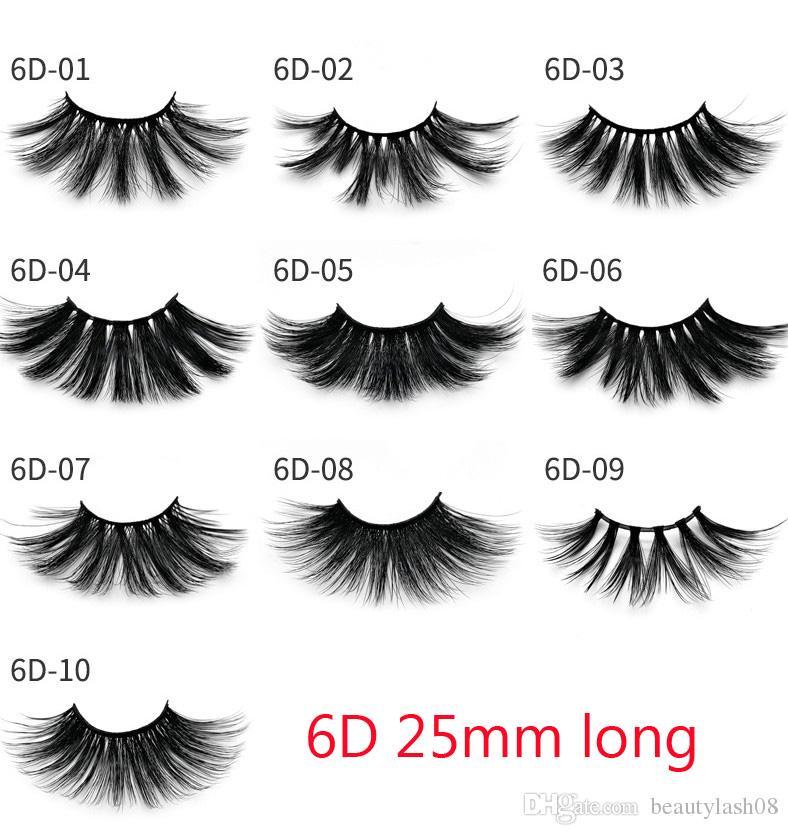 3D Mink 25mm Wimpern Volumen von 100% natürlichen langen Haar 6D 25 mm Falsche Wimpern Verlängerung Fälschungs-Peitsche-Verfassung Mink Wimpern-Pack