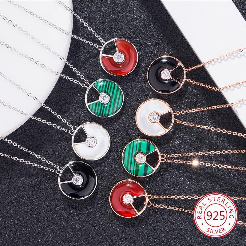 S925 стерлингового серебра женский кулон ожерелье круглой формы инкрустированные охра личность творческий ключицы цепи ювелирные изделия 2019 новый горячий