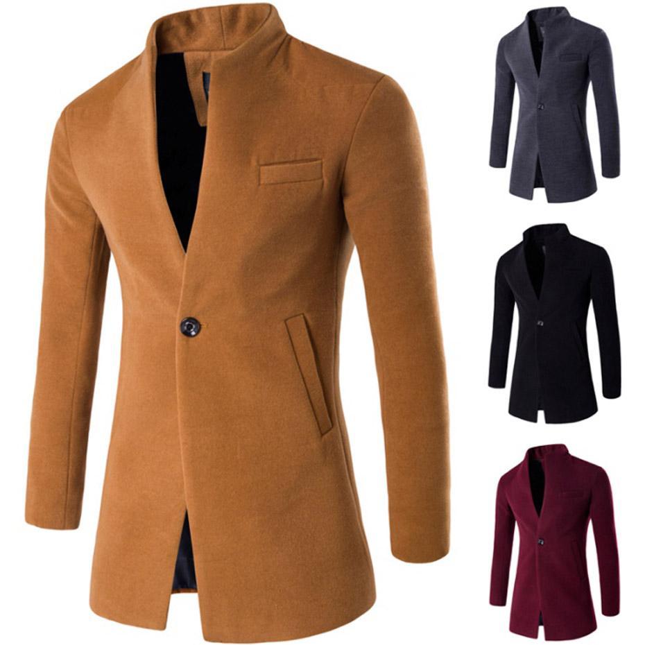 ZOGAA 2019 casaco de lã Brasão Homens Inverno Longo Fino Cardigan Windbreaker One Button Mandarim Casual Collar de lã Men Overcoat