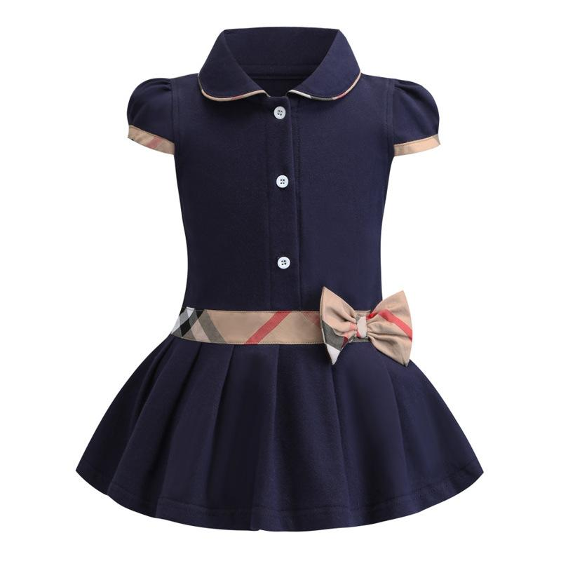 Ratail baby girls dress kids lapel college wind bowknot short sleeve pleated polo shirt skirt children casual designer clothing kids clothes