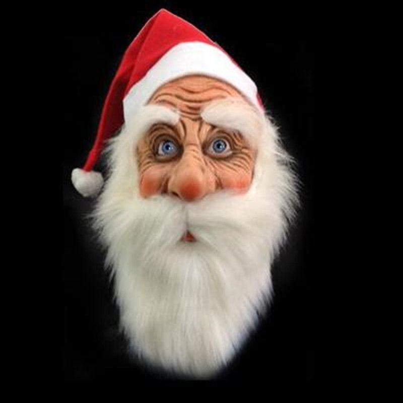 Ornamento ao ar livre Feliz Natal Máscara Papai Noel Latex Papai Noel bonito traje de disfarce peruca Beard Dress up Xmas Party