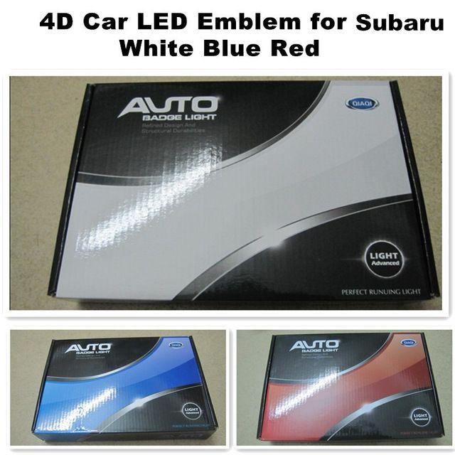 140 * 73mm Subaru LED Amblem 4D Işık Beyaz Mavi Kırmızı Araba LED Rozetleri Arka Logo Işıkları