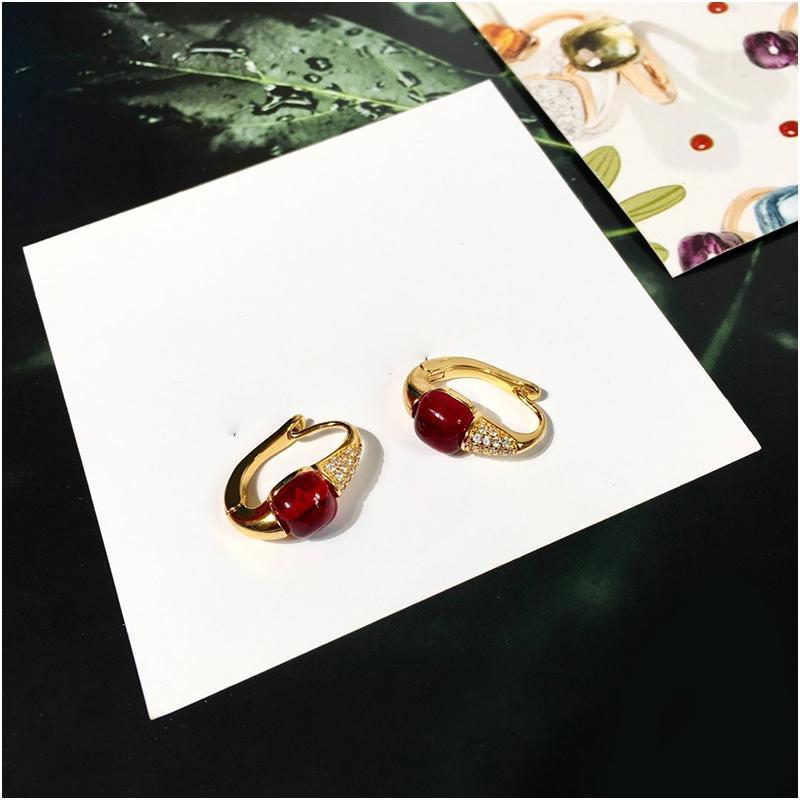 Pendientes de diamantes de colores de moda personalizados para mujeres Pendientes de aro de oro Joyería de diseño de lujo con caja con sello