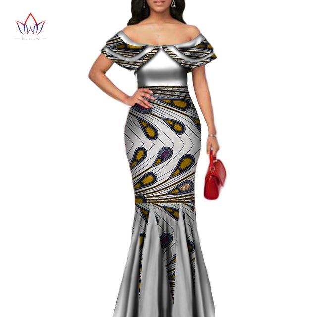 Мода African печати Длинные Русалка платье для женщин Базен Rich Лоскутная Питер Пэн Колла платья африканского дизайна одежды WY3272
