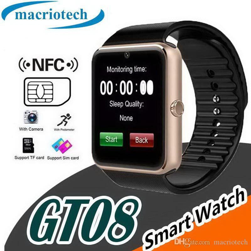 GT08 Reloj inteligente Bluetooth con cámara Ranura para tarjeta SIM y podómetro de cámara Reloj inteligente de salud para mujer para Android y IOS Smartphone