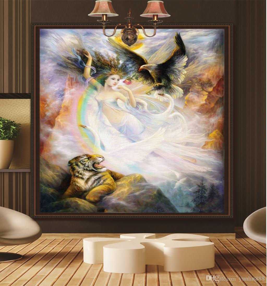 Promoción al por mayor HD Porch Wallpaper Hermosa Sexy Flying Fairy Decoración Interior generoso Elegante Wallpaper