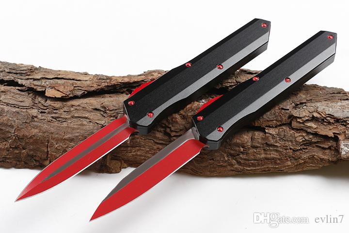 High quality A3 AUTO Tactical Knife D2 Red Titanium Coated Blade T6061 Handle 2 Models optional Blade Styles EDC Pocket Knives