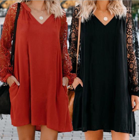 Designer Casual Femmes Robes 20SS Femmes Designer Robes De Mode Solide Couleur Évider V Cou Robes