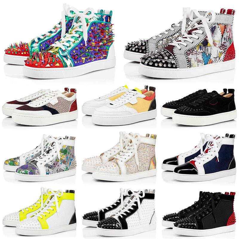 NEW mens red bottoms shoes spikes women men Chaussures suede leather flat casual shoes party lovers sneakers 36-47 with BOX