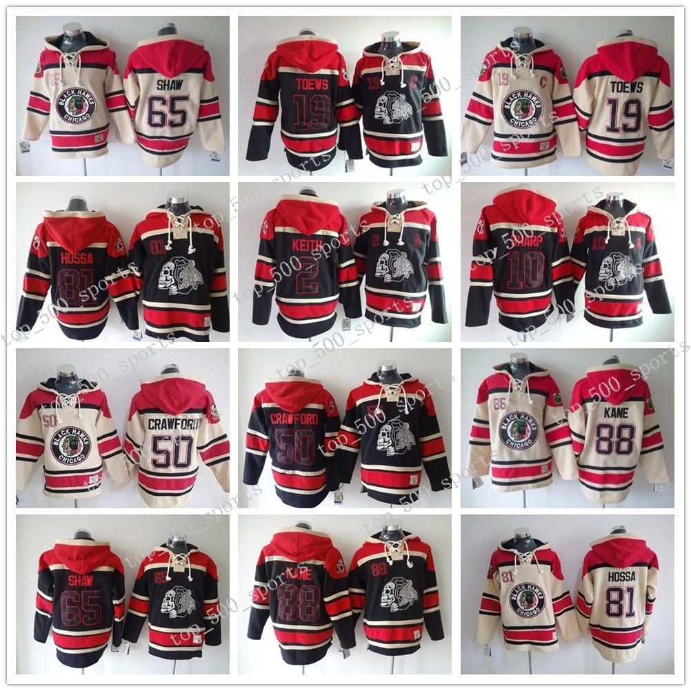 Chicago Blackhawks Hockey Hoodie Jonathan Toews 2 Keith 10 Sharp 65 Shaw Crawford 88 kane Hossa Ice Hockey Hoodie Sweatshirt Jackets Jerseys