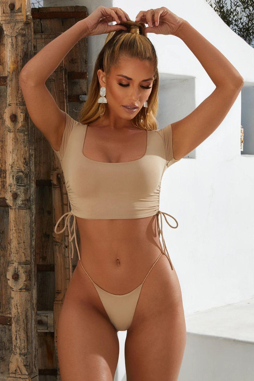 2020 Explosión Nuevo Modelo de Comercio Exterior bikinii Sra traje de baño color sólido media manga de Deportes Spa Sexy Bikini 19153