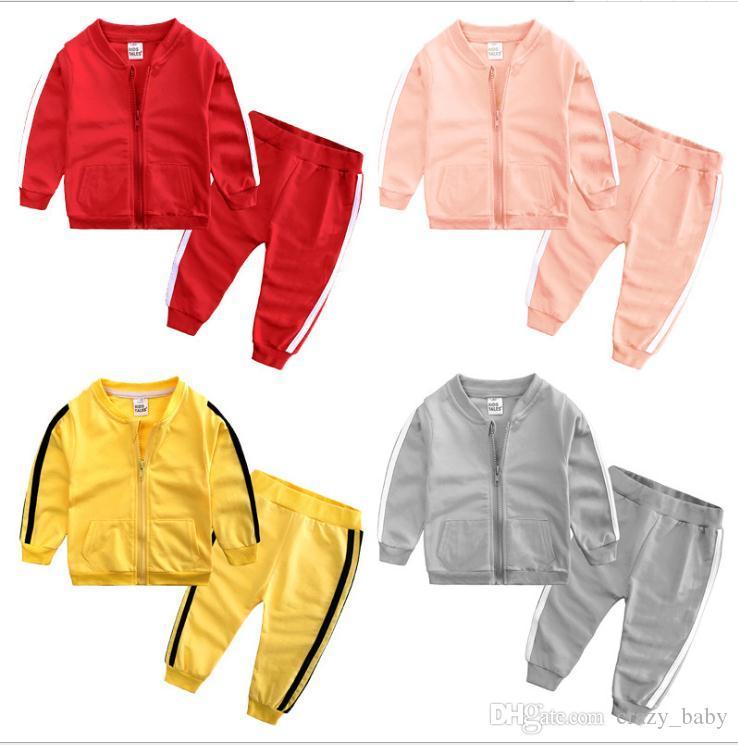 Baby-Kleidung Baumwolle lange Ärmel feste Reißverschluss Jacke + Hosen 2 Stück Bebes Trainingsanzug Baby-Kleidung Set
