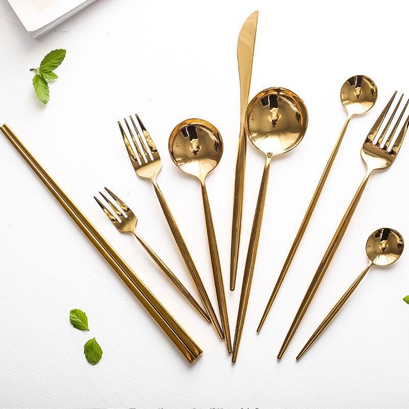 Espelho de Ouro talheres de aço inox 304 Silverware Louça Service Set brilhantes Chopstick Forks Facas Spoons Set Jantar