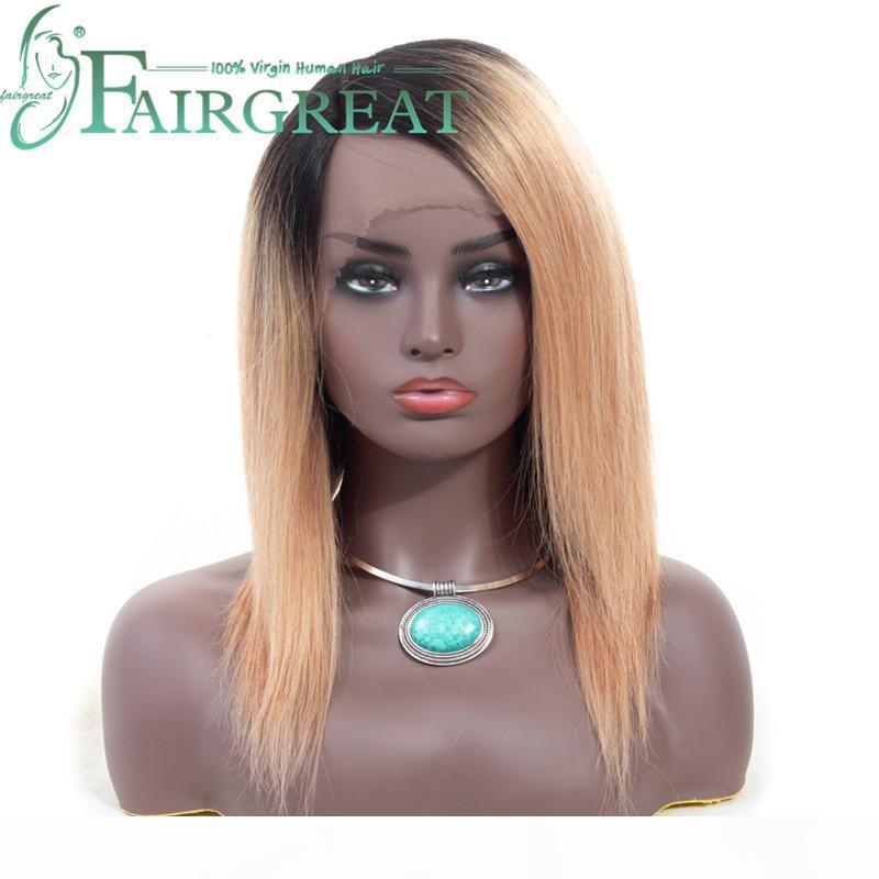Frontal humana de encaje pelucas de pelo indio peruano 4 * 4 de Malasia no del cordón de Remy Cabello Medio Humano Brown Negro Para Mujeres