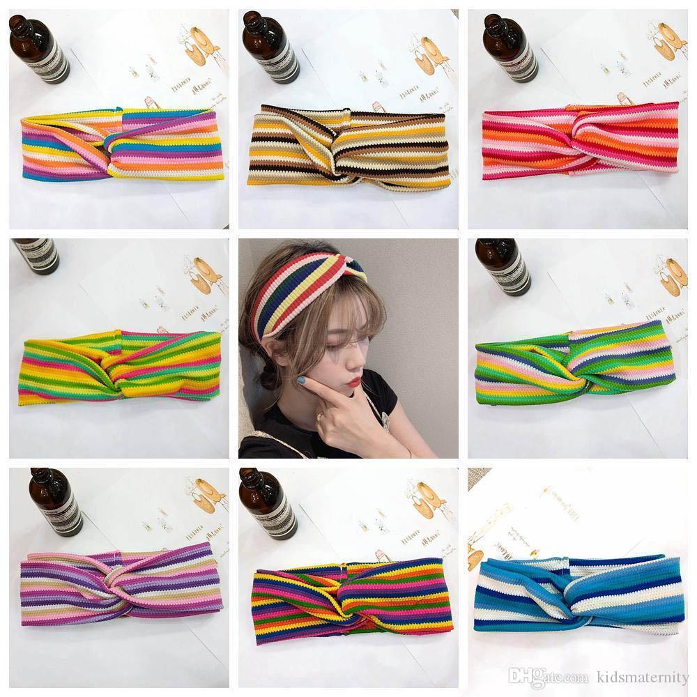 8styles бантом крест вязать оголовье двойной слой Радуга полосатый эластичный Hairband аксессуары для волос широкий оголовье партии подарок пользу