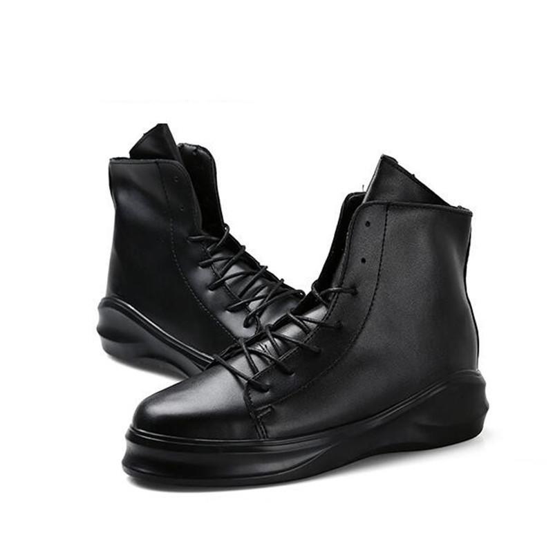 Горячая распродажа-мужские кожаные ботинки на молнии мужчины мода рабочая обувь мужская повседневная обувь мотоцикла толстая подошва платформы прилив сапоги Harajuku для мужчин
