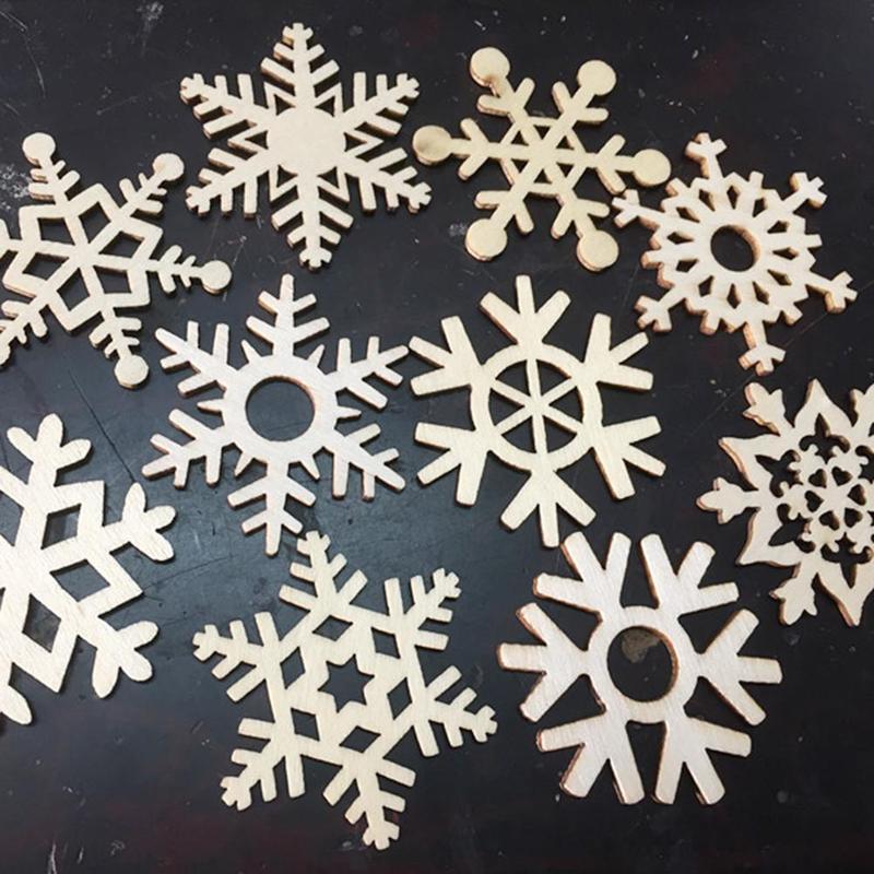 10pcs Assortiment de sapins de noël flocons de neige en bois Tag cadeau bois ornement pour Weding Noël DIY Accessoires CMS3550