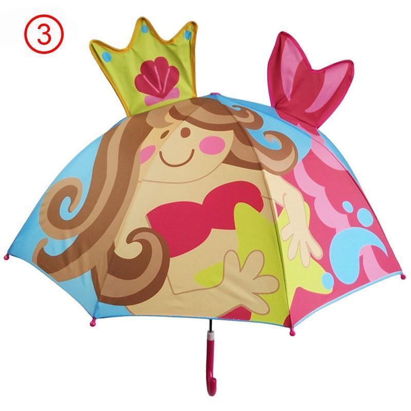 3D mignon parapluie enfants Cartoon Parasol et Parasol Creative Rainy pour garçons filles longue poignée Style école cadeau enfant