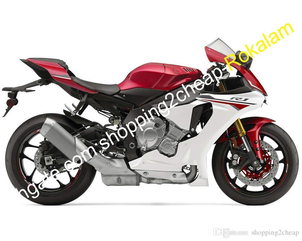 Montaje de la motocicleta para Yamaha YZF R1 2015 2016 2018 2019 YZF1000 YZFR1 YZFR1 Rojo Blanco ABS Color Sportbike carenado Kit (moldeo por inyección)