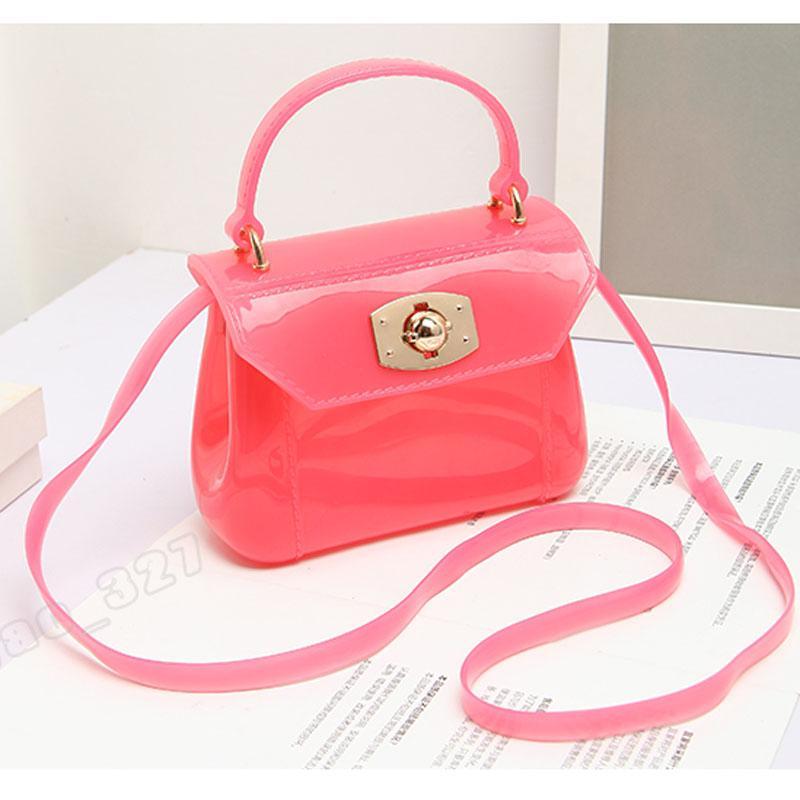 JELLYOOY women mini candy color PVC Jelly handbag kid girls shoulder bag baby patent transparent purse tote Messenger beach bag