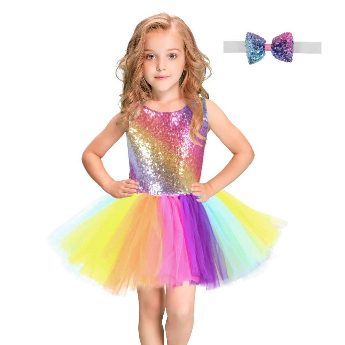 high quality Tutu Rainbow Sequined Girl Dress With Bow Headband Sleeveless Backless Designer Girl Birthday Wedding Party Dresses Sundress Ve