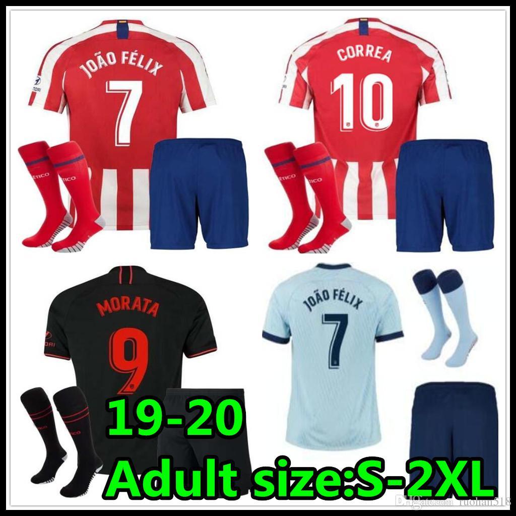 19 20 Football jersey best quality kits 2019 2020 La Liga men adult soccer jerseys kits Customized uniforms link kit