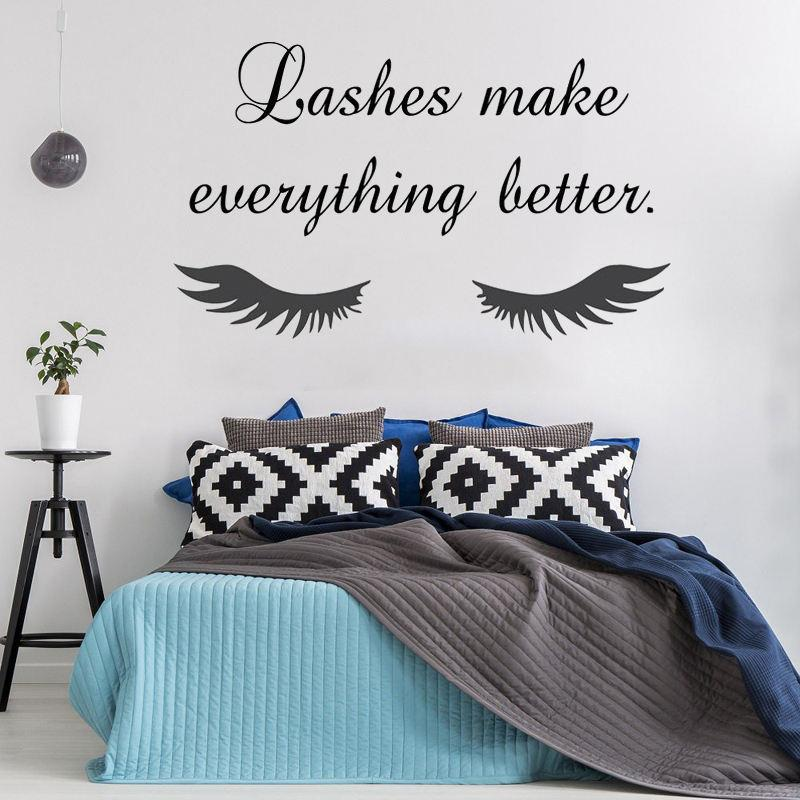 High Quality Eye Eyelashes Lashes Wall Stickers Beauty Salon Quotes Interior Mural Girls Extensions Eyebrows Brows Decals Home Decal Home Decal Stickers From Joystickers 11 67 Dhgate Com