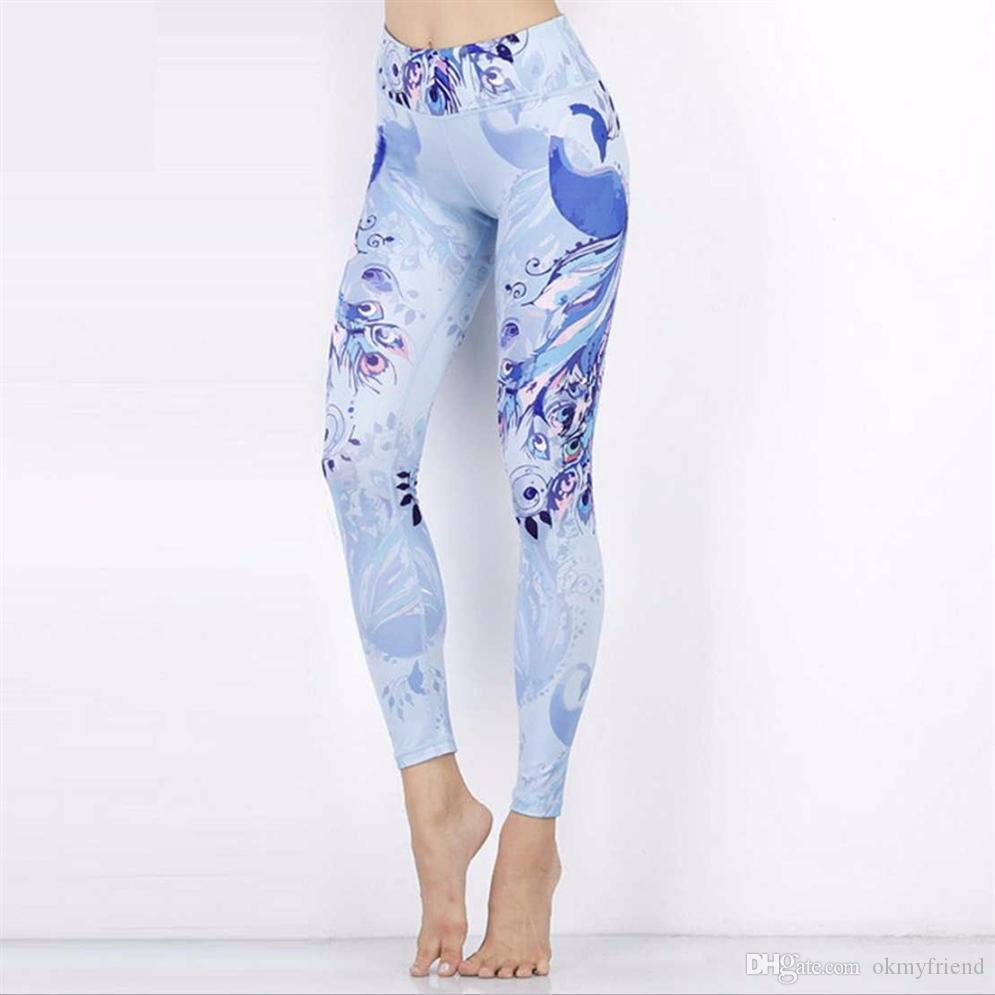 Para mujer de la alta cintura de las polainas de entrenamiento Pantalones de impresión de Yoga de rendimiento para ejecutar la gimnasia de Deporte Montar # 988330