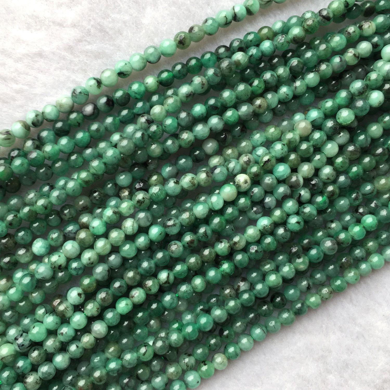 """Подлинные природные полудрагоценные камни Колумбия изумрудно-зеленый круглые маленькие бусины 15,5 """"05968"""