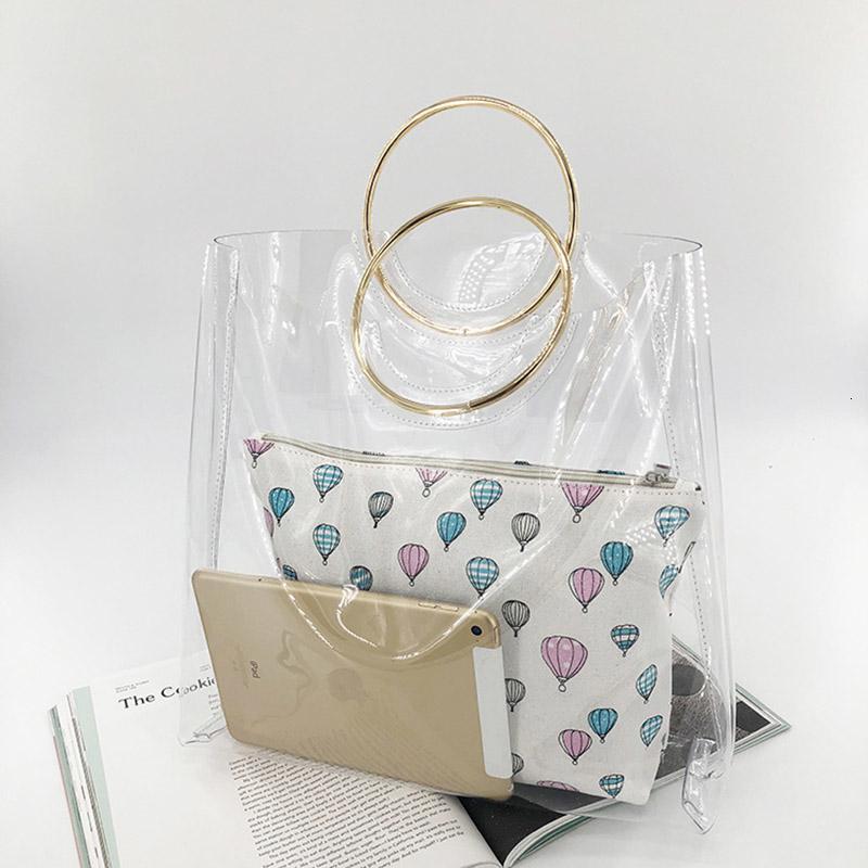 2 Pcs Beach Bags Women Transparent Bag PVC Clear Ladies Plastic Handbags Metal Wristlet Large Tote Ring PVC Jelly Bag W279 SH190918