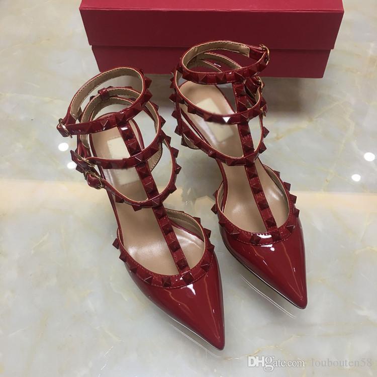 Las mujeres tachonan los zapatos de tacón alto vestido de fiesta remaches de moda chicas sexy punta punta zapatos hebilla plataforma bombas zapatos de boda