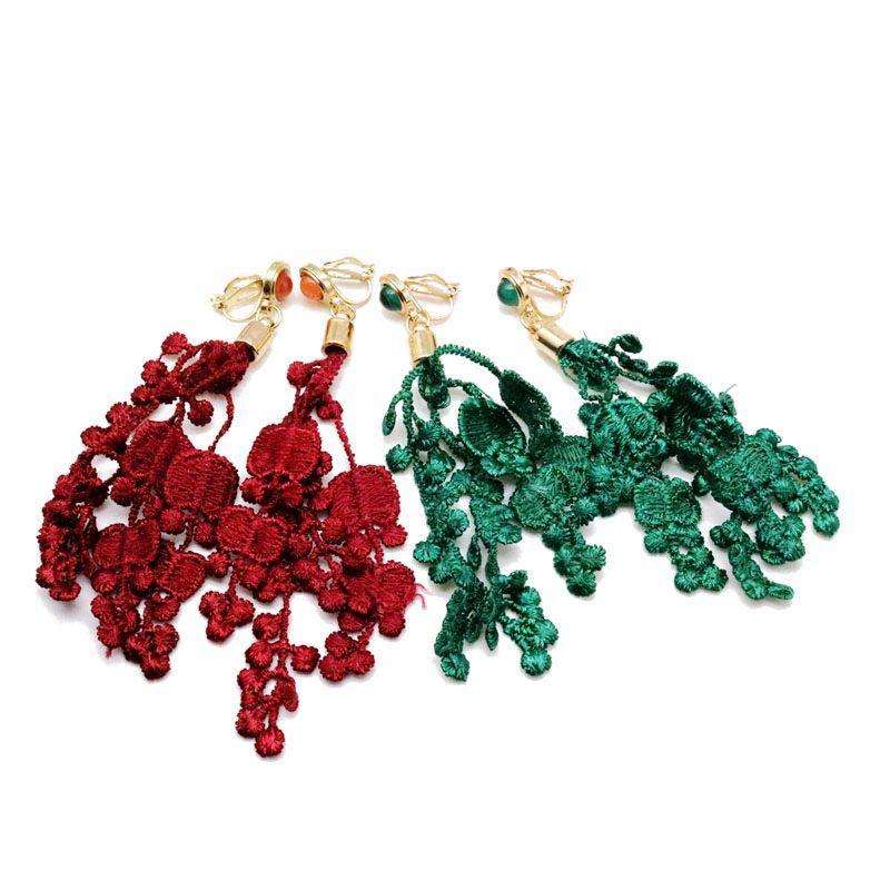 Freies Verschiffen-leichter grüner roter weißer Blumen-Band-Klipp-Ohrring, langer süßer einfacher Klipp-Ohrring für Frauen