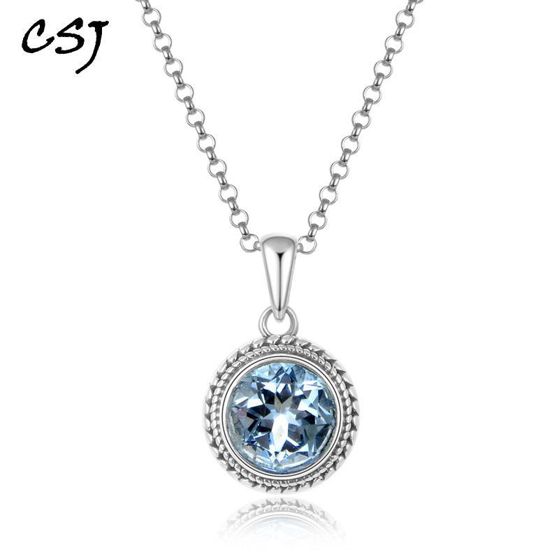 azul CSJ topázio quartzo pedra preciosa nobre boa oct10 * 14 milímetros pingente ou colar de 925 prata Fine Jewelry For Women Lady presente