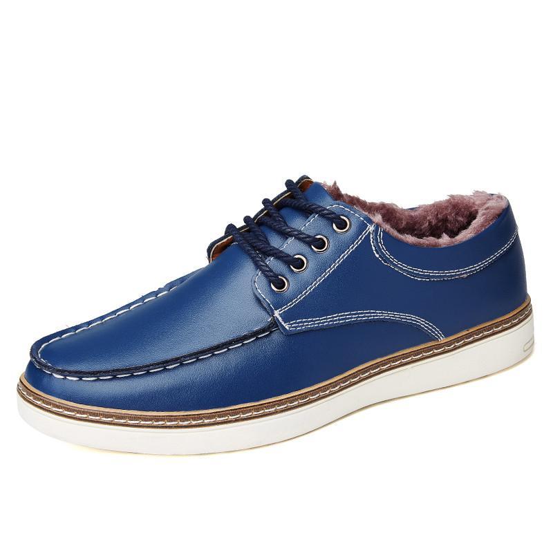 Big Size Split Leather Winter Warm Krasovki Lace Up Male Boat Shoes Plush Fur Flats Sapato Masculino