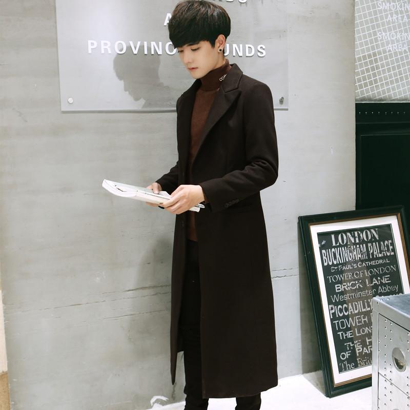 2019 Turn Down gola do casaco longo de lã e Jacket Único Breasted Overcoat Men coreana Estilo Moda de lã inverno Coats