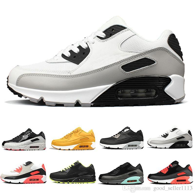 2019 Date Chaude marque de mode 90 Hommes Chaussures De Course Femmes Sport Trainers Classique 90 Coussin Marque Sneakers Respirant Designer 36-45