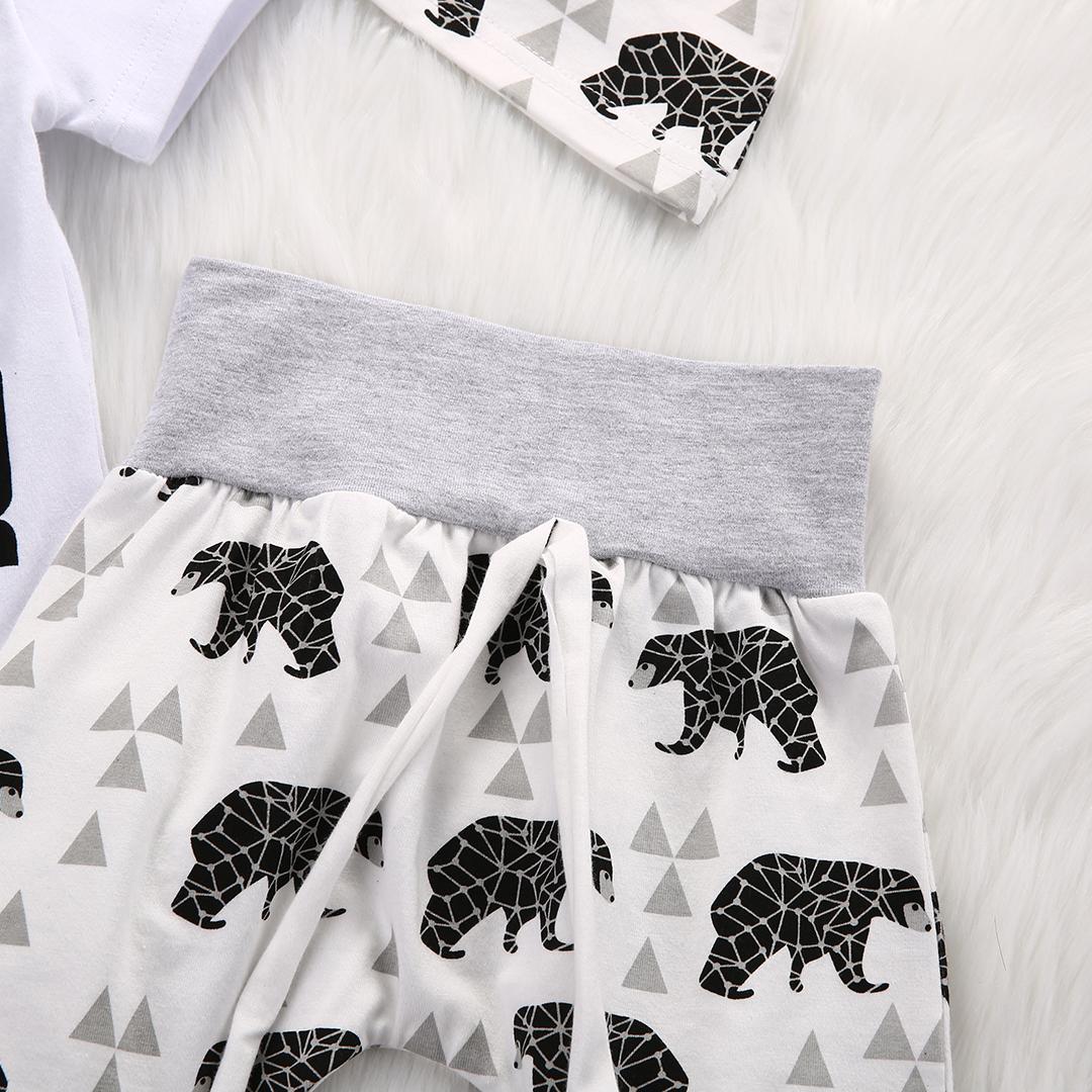 Emmababy 2pcs Kleidung gesetzt !! Netter neugeborene Mädchen-Junge-Baby-Bär Tops Spielanzug-Overall-Hosen-Hut 0-18M