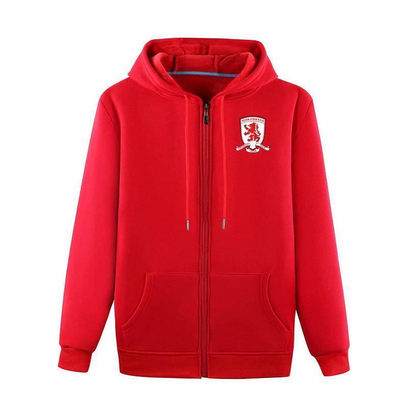 2020 Middlesbrough FuAll-Zip football Veste à capuche Veste de survêtement de football à capuche Pull veste football Sweatshirt manteau Vestes d'homme